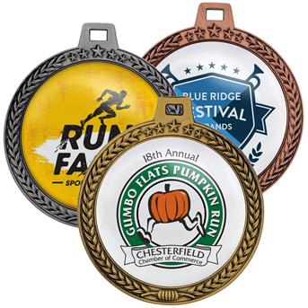 "SPM3 - Speed Medal – 3"" 3D Wreath & Star Border"