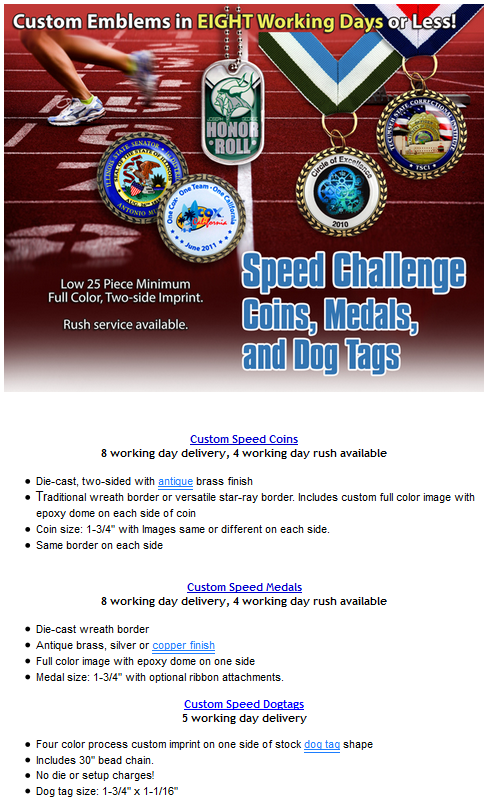 Speed Challenge Coins, Medals and Dog Tags in 8 days or less! « EMT Blog